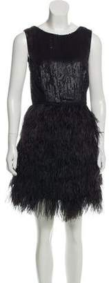 Gryphon Sequined Feather-Accented Dress