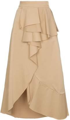 Johanna Ortiz Frou Frou cotton-blend ruffled wrap skirt