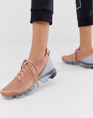 Nike Running Vapormax Flyknit Sneakers In Rose Gold
