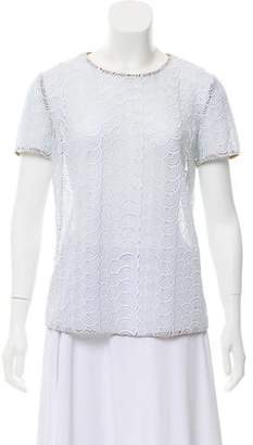 Diane von Furstenberg Short Sleeve Lace Top