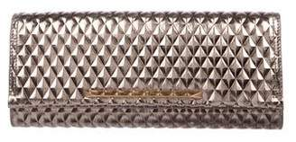 Brian Atwood Metallic Embossed Leather Clutch
