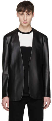 Maison Margiela Black Leather Deconstructed Blazer