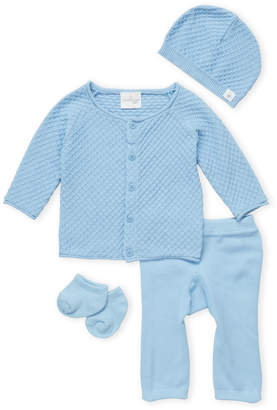 Cuddl Duds Newborn Boys) 4-Piece Blue Cardigan & Pants Set
