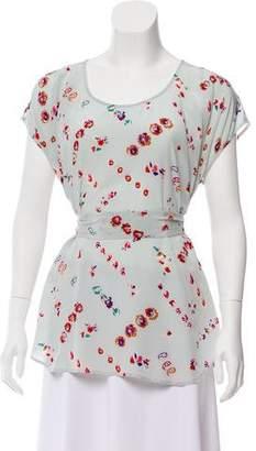Rebecca Taylor Silk Floral Print Top