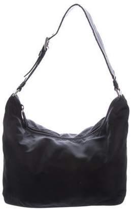 Prada Leather-Trimmed Tessuto Hobo Nero Leather-Trimmed Tessuto Hobo