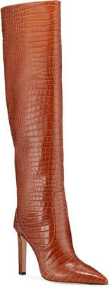 Jimmy Choo 100mm Mavis Croc-Embossed Leather Knee Boots