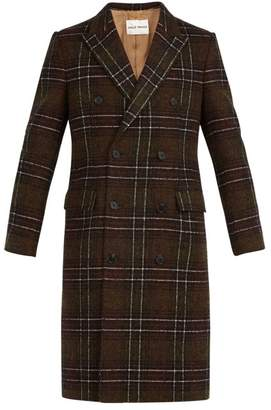 Salle Privée - Alain Checked Double Breasted Wool Blend Overcoat - Mens - Green
