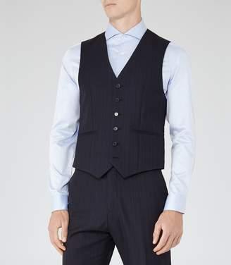 Reiss Baggio W - Checked Wool Waistcoat in Blue