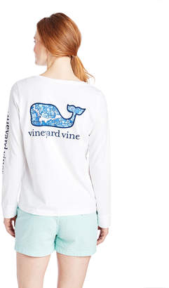 Vineyard Vines Classic Long-Sleeve Hydrangea Whale Fill Tee