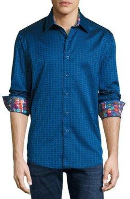 Robert Graham 8-Bit Space Jacquard Sport Shirt, Navy $188 thestylecure.com