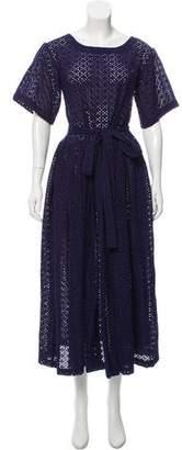 Lisa Marie Fernandez Short Sleeve Embroidered Maxi Dress