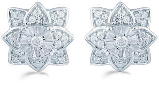 FINE JEWELRY 1/3 CT. T.W. Genuine White Diamond Sterling Silver 11.1mm Flower Stud Earrings