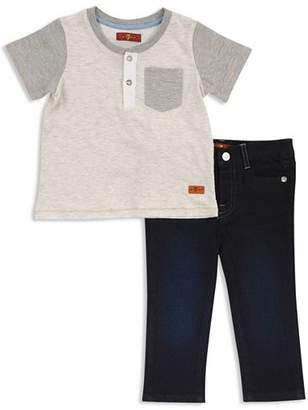 7 For All Mankind Boys' Short Sleeve Henley Tee & Jeans Set - Baby