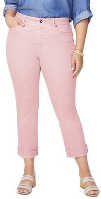 NYDJ Plus Marilyn Straight-Leg Cuffed Ankle Jeans in Pueblo Rose