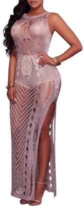 Cresay Women's Sexy Mesh See Through Knitted Bodycon Midi Dress Clubwear-Gold-XL