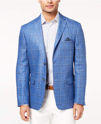 Tallia Orange Men's Slim-Fit Blue Windowpane Sport Coat