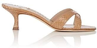 Manolo Blahnik Women's Callamu Snakeskin Sandals - Beige Snake