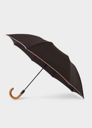 Paul Smith Black Signature Stripe Border Compact Umbrella With Crook Wooden Handle