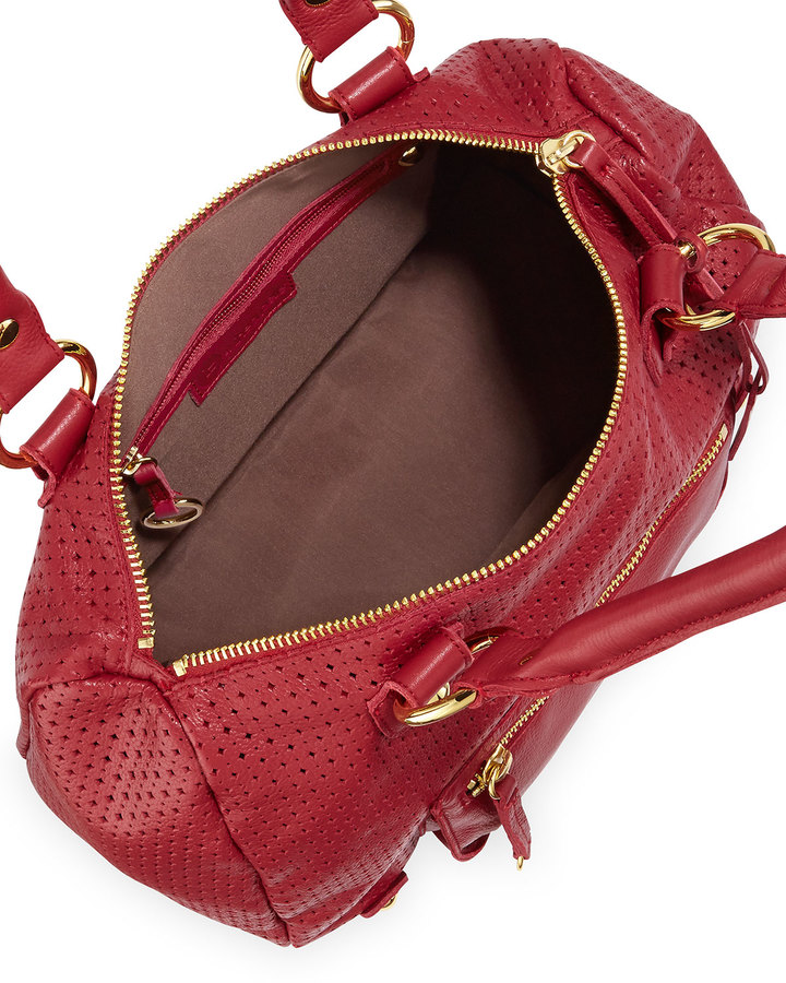 Linea Pelle LP by Dylan Perforated Leather Duffel Tote, Red Poppy
