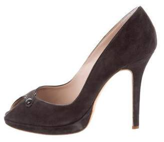 Giambattista Valli Suede Peep-Toe Pumps