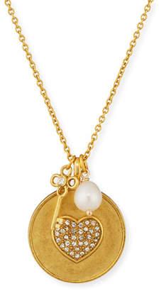 Sequin Heart Charm Talisman Necklace
