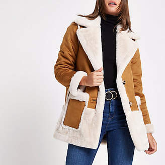 River Island Womens Light Brown faux suede coat