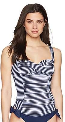 Coastal Blue Women's Swimwear Classic Center Front-Twist Tankini Top