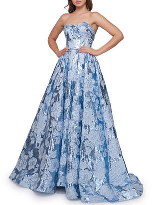 Mac Duggal Metallic Floral Strapless Sweetheart Ball Gown