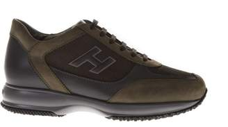 Hogan Interactive Green Leather Sneakers