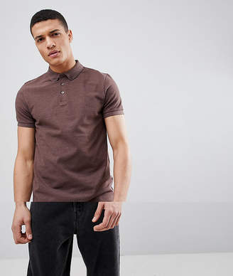 Asos DESIGN pique polo with button down collar in brown