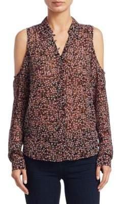 Paige Bellini Cold Shoulder Floral Silk Blouse
