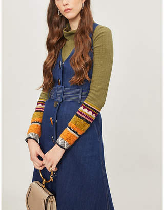 Free People Mixed Up cotton-blend turtleneck jumper