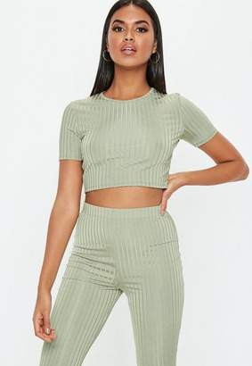 Missguided Green Shiny Ribbed Crop T Shirt