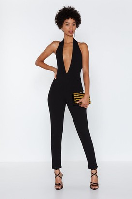 Nasty Gal Plunge Straight in Halter Jumpsuit