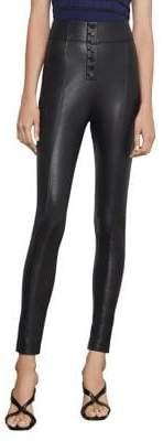 BCBGMAXAZRIA Button-Front Faux Leather Leggings