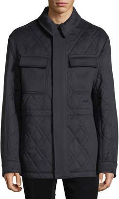 Ermenegildo Zegna Men's Quilted Car Coat with Leather Trim