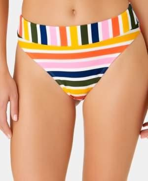 California Waves Juniors' Baja Striped High-Waist High-Leg Bottoms, Created for Macy's Women's Swimsuit