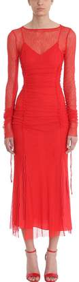 Diane von Furstenberg Maxi Fitted Mesh Red Lace Dress