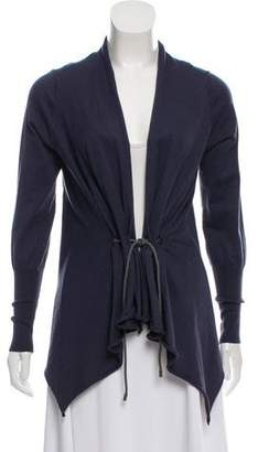 Brunello Cucinelli Tie-Front Long Sleeve Cardigan