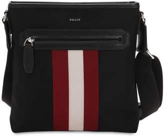 Bally Logo Stripe Tech Canvas Messenger Bag
