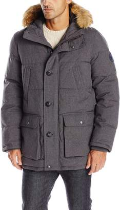 Tommy Hilfiger Men's Arctic Cloth Full Length Quilted Snorkel with Removable Faux Fur Trimmed Hood and Ultra Loft Isulation
