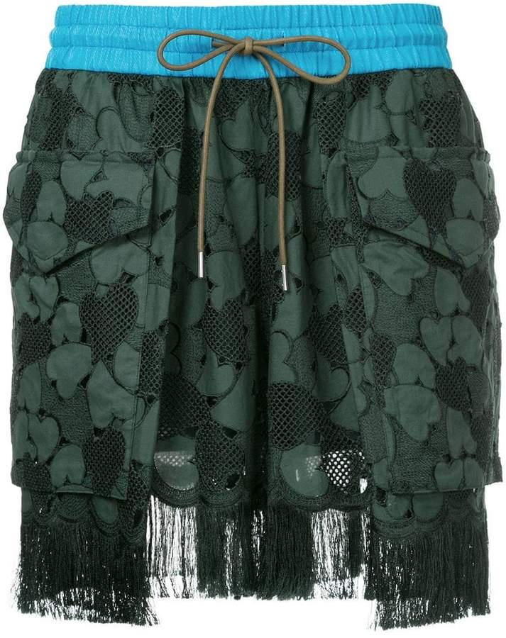 embroidered fringed shorts