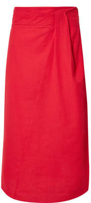 Vince Twisted Cotton-gauze Midi Skirt - Red