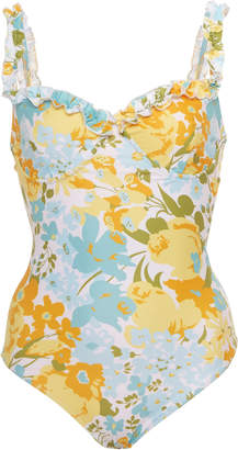 Faithfull The Brand Hilda Floral-Print One-Piece Swimsuit Size: L