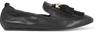 Lanvin - Faux Pearl-embellished Tasseled Leather Slippers - Black $795 thestylecure.com