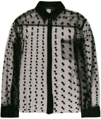 Haider Ackermann embroidered dot sheer shirt