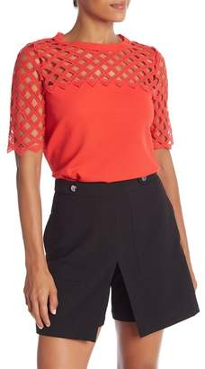 Catherine Malandrino Bilal Cutout Short Sleeve Top