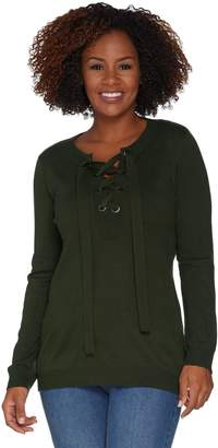 Women With Control Attitudes by Renee Pullover Lace-Up Sweater