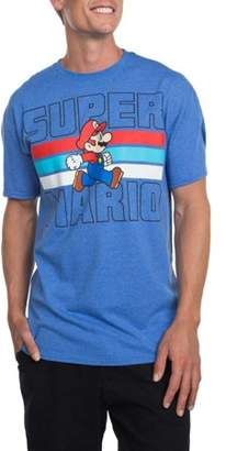 Gaming Men's Super Mario Stripes Short Sleeve Crew Neck Tee Shirt, up to Size 3XL