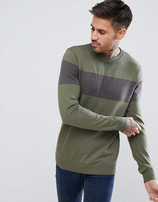 New Look Color Block Sweater In Khaki And Gray